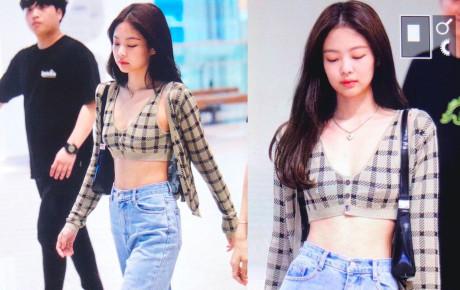 Jennie không thiếu lần mặc crop top ra sân bay nhưng bốc lửa tột độ như lần này thì rất hiếm