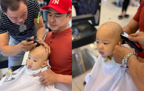 Biểu cảm đáng yêu của quý tử nhà Lương Thế Thành khi được đưa đi cắt tóc