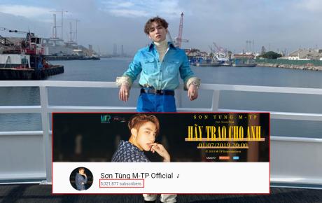 """Sơn Tùng M-TP tiếp tục lập kỷ lục về lượt đăng ký theo dõi, xứng đáng là """"ông hoàng YouTube của Vbiz"""""""