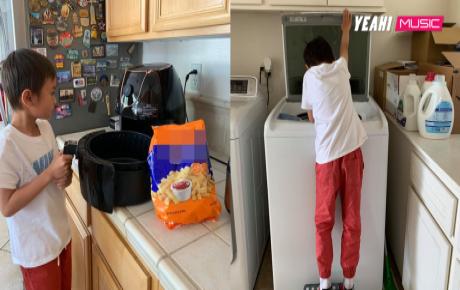 Con nhà người ta: Chỉ mới 8 tuổi nhưng con trai Ngô Kiến Huy đã giỏi việc nhà